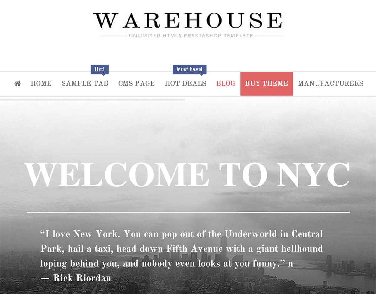 Warehouse - HTML5 PrestaShop Template