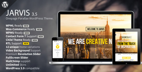 Jarvis - One page Parallax WordPress Theme